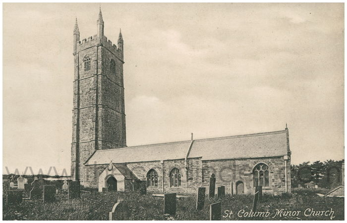 Postcard front: St. Columb Minor Church