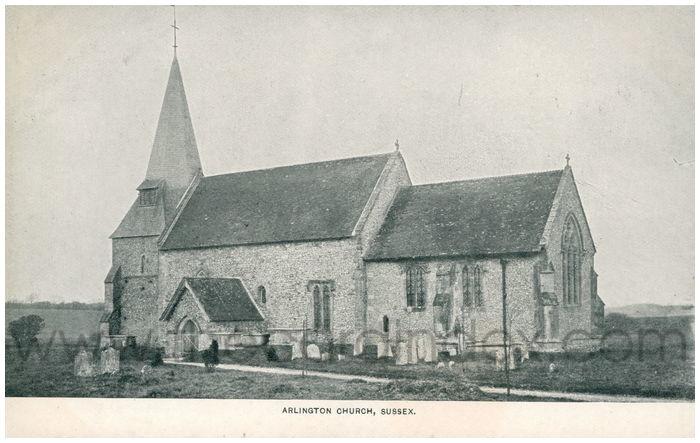 Postcard front: Arlington Church, Sussex