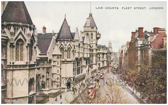 Postcard front: Law Courts, Fleet Street. London
