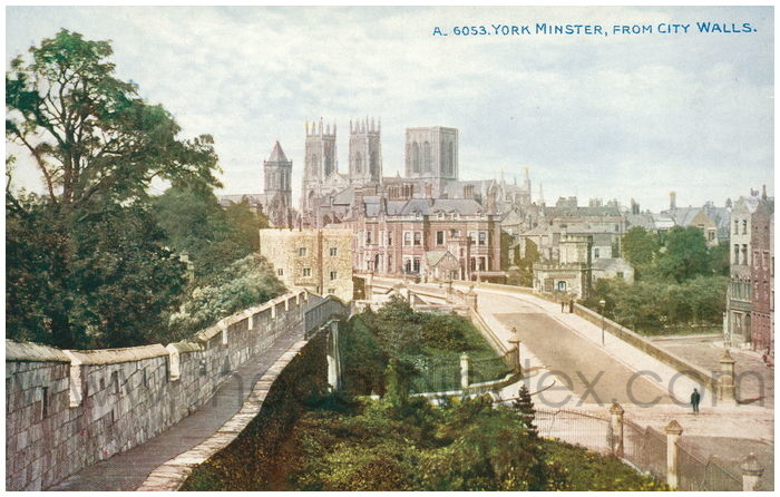 Postcard front: York Minster, From City Walls