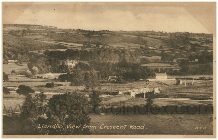 Postcard front: Llandilo, View from Crescent Road