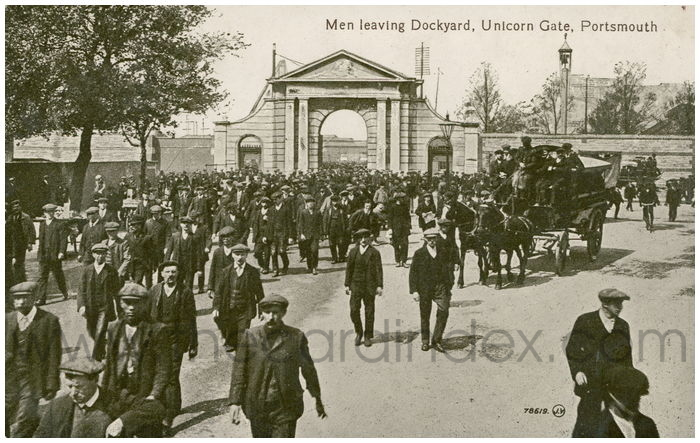Postcard front: Men Leaving Dockyard, Unicorn Gate, Portsmouth