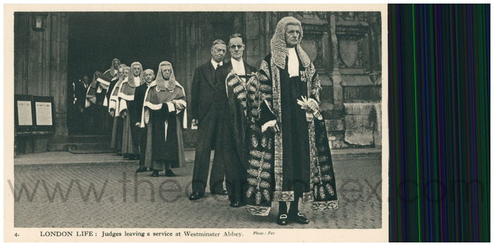 Postcard front: London Life: Judges leaving a service at Westminster Abbey