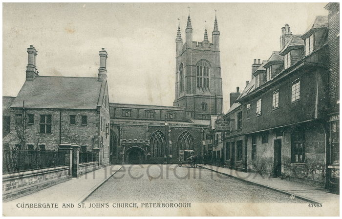 Postcard front: Cumbergate and St. John's Church, Peterborough