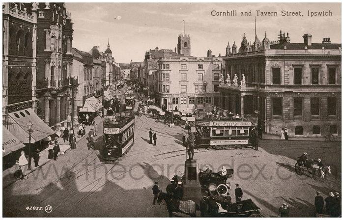 Postcard front: Cornhill and Tavern Street, Ipswich