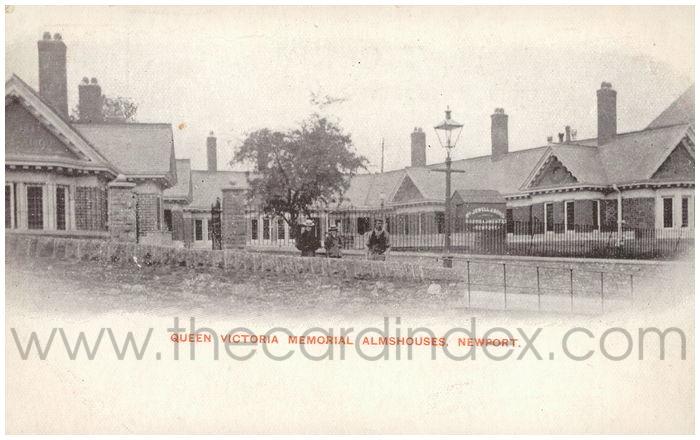 Postcard front: Queen Victoria Memorial Almshouses, Newport