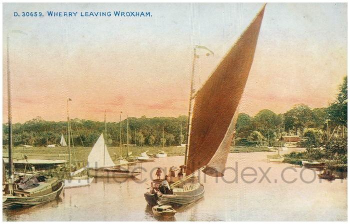 Postcard front: Wherry Leaving Wroxham