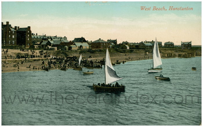 Postcard front: West Beach, Hunstanton