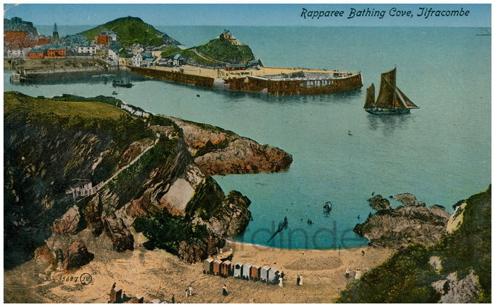 Postcard front: Rappareee Bathing Cove, Ilfracombe