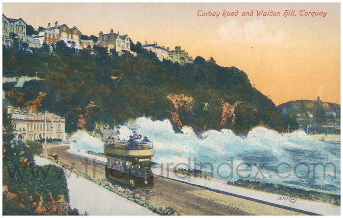 Postcard front: Torbay Road and Waldon Hill, Torquay