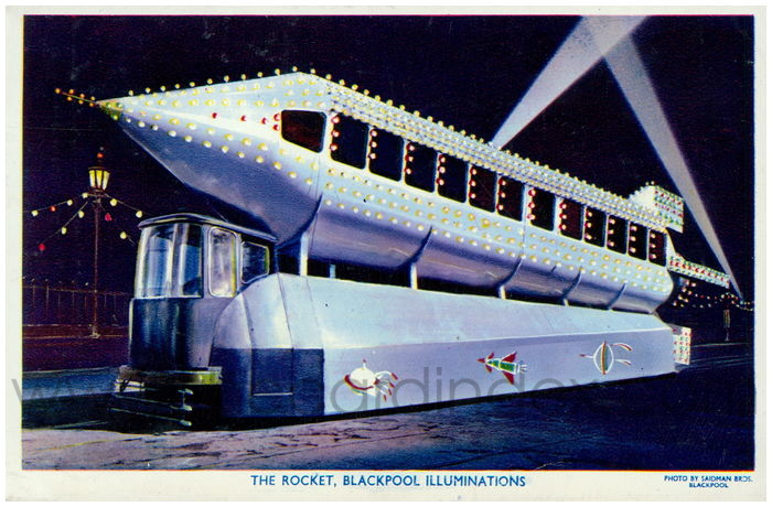 Postcard front: The Rocket, Blackpool Illuminations