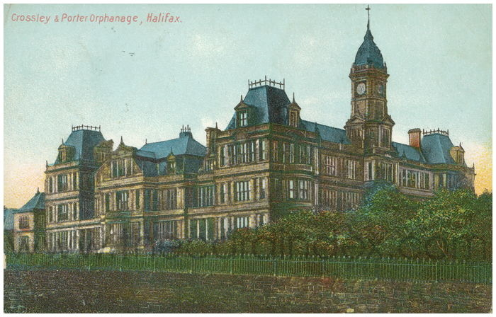 Postcard front: Crossley and Porter Orphanage, Halifax.