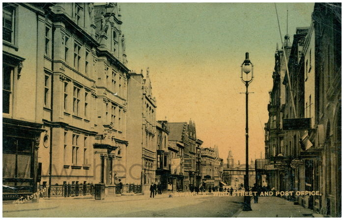 Postcard front: Swansea Wind Street and Post Office.