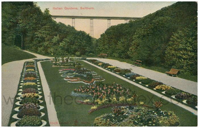 Postcard front: Italian Gardens, Saltburn