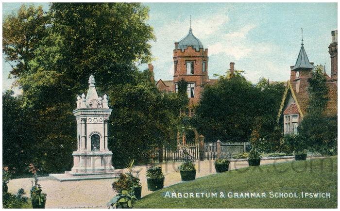 Postcard front: Arboretum & Grammar School, Ipswich