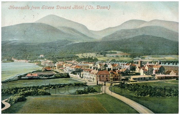 Postcard front: Newcastle from Slieve Donard Hotel (Co. Down)