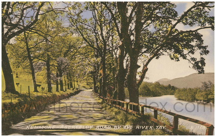 Postcard front: Kenmore - Aberfeldy Road by the River Tay