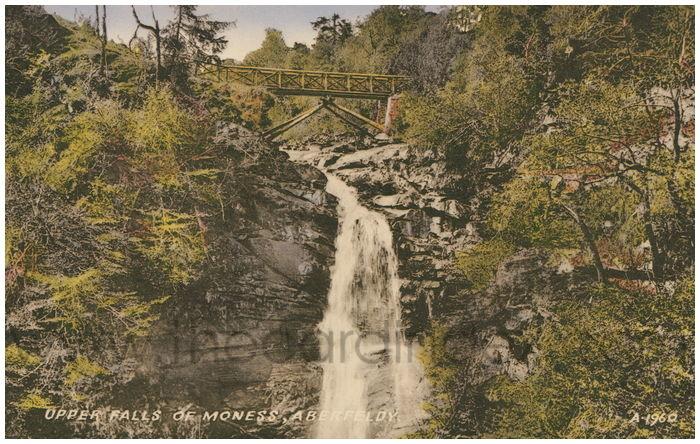Postcard front: Upper Falls of Moness, Aberfeldy