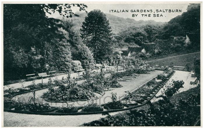 Postcard front: Italian Gardens, Saltburn By The Sea