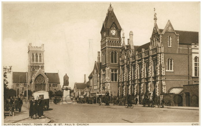 Postcard front: Burton-On-Trent. Town Hall and St. Paul's Church