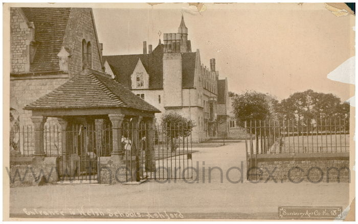Postcard front: Entrance to Welsh Schools. Ashford