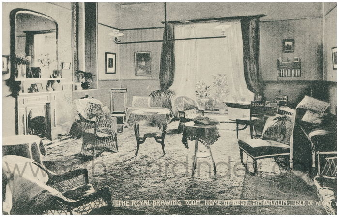 Postcard front: The Royal Drawing Room. Home of Rest - Shanklin. -Isle of Wight