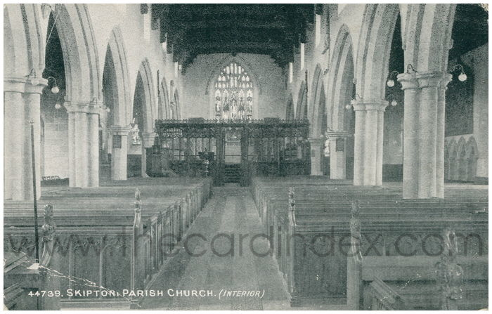 Postcard front: Skipton: Parish Church. (Interior)