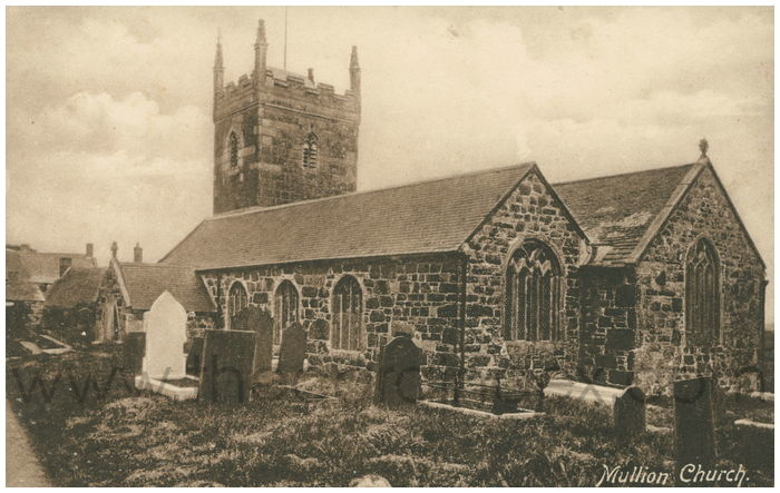 Postcard front: Mullion Church