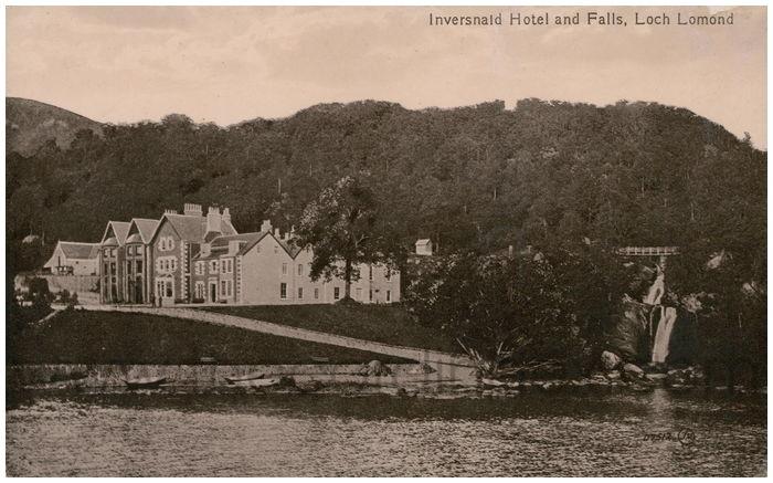 Postcard front: Inversald Hotel and Falls, Loch Lomond