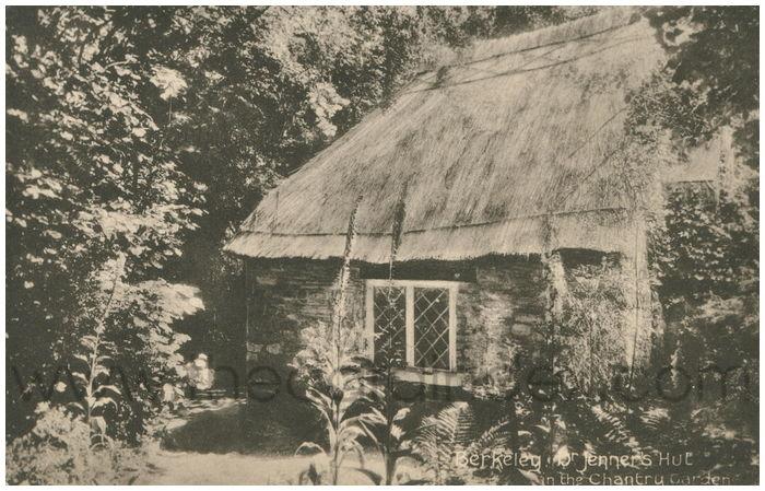 Postcard front: Berekley. Dr. Jenner's Hut in the Chantry Garden