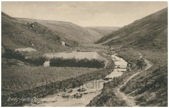 Postcard front: Badgeworthy Water and Doone Valley.