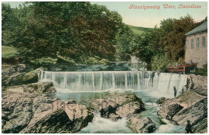 Postcard front: Glanclwyedog Weir, Llanidloes