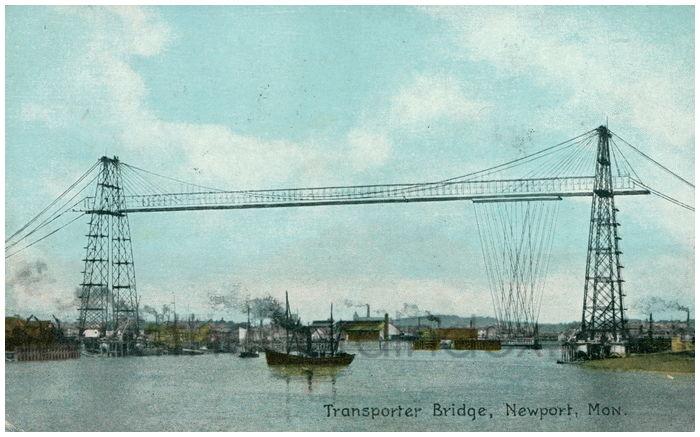 Postcard front: Transporter Bridge, Newport, Mon.