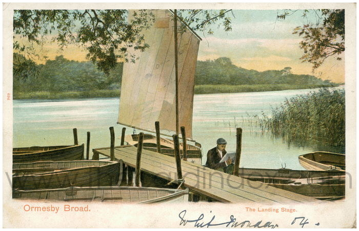 Postcard front: Ormesby Broad. The Landing Stage.