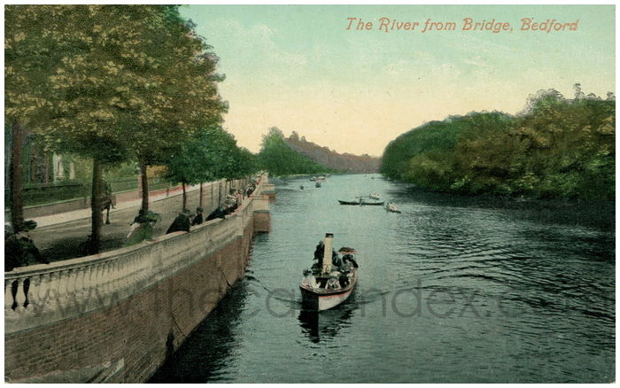 Postcard front: The River from Bridge, Bedford