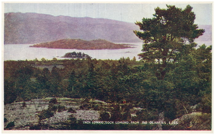 Postcard front: Inch Lonaig, Loch Lomond, from the Quarries, Luss