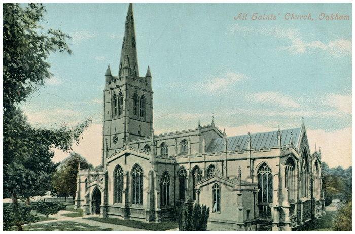 Postcard front: All Saints' Church, Oakham