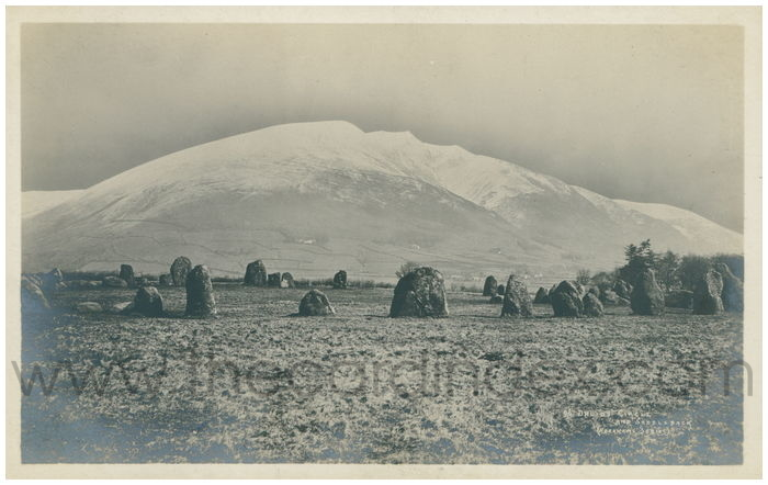Postcard front: Druids' Circle and Saddleback