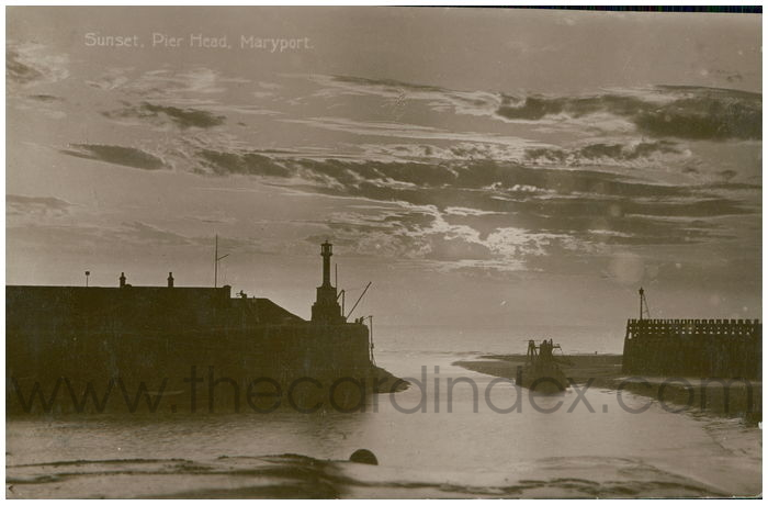 Postcard front: Sunset, Pier Head, Maryport