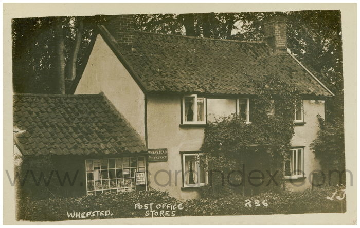 Postcard front: Whepstead Post Office Stores