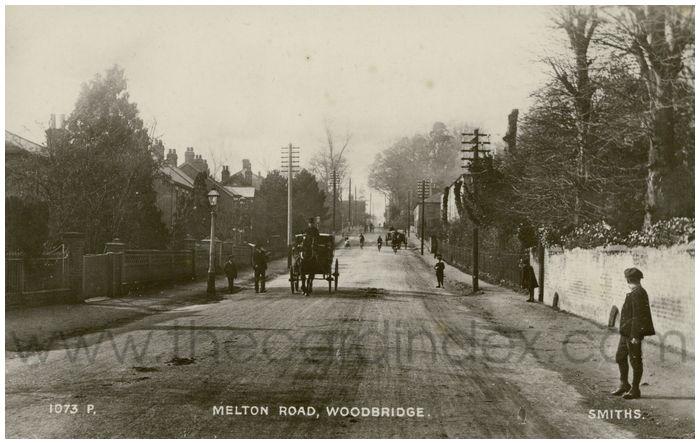 Postcard front: Melton Road, Woodbridge