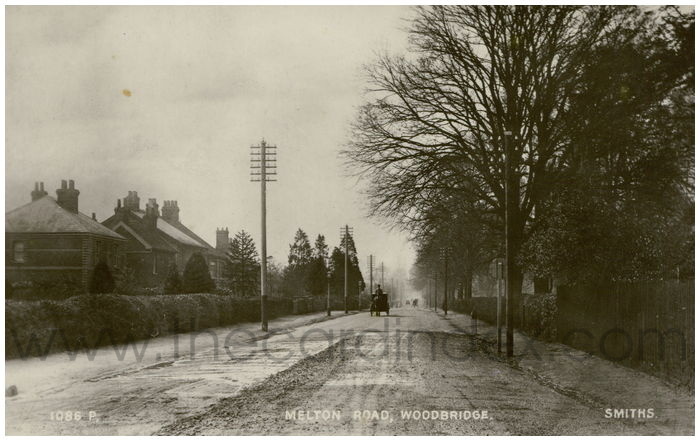Postcard front: Melton Road, Woodbridge.
