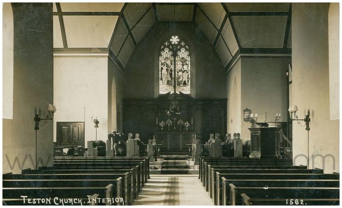 Postcard front: Teston Church. Interior.