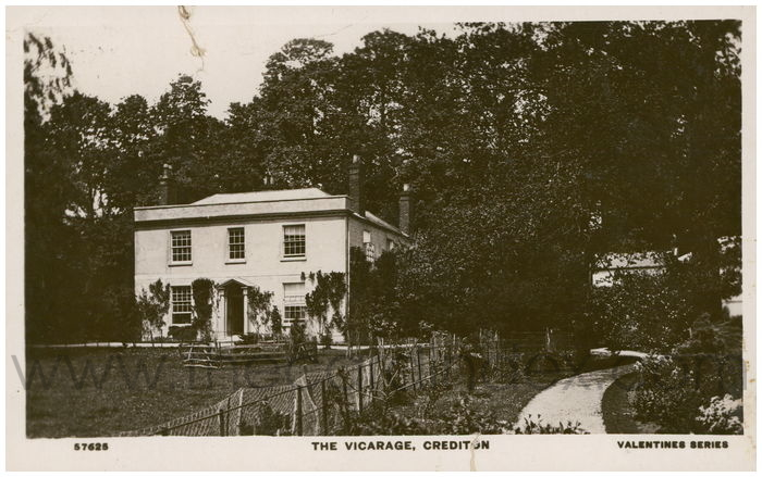 Postcard front: The Vicarage, Crediton