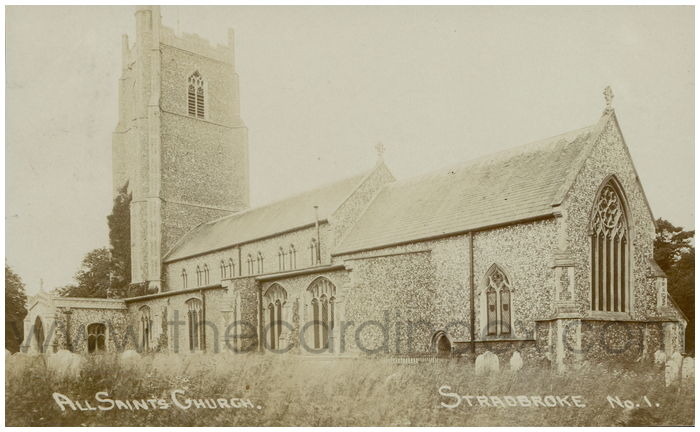 Postcard front: All Saints Church, Stradbroke