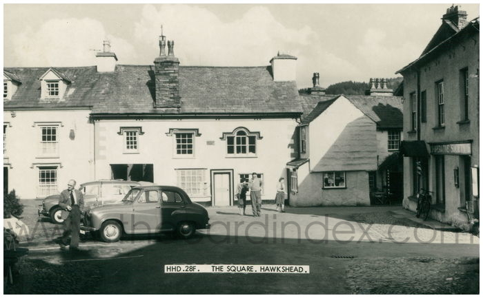 Postcard front: The Square, Hawkshead.