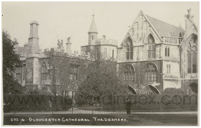 Postcard front: Gloucester Cathedral. The Deanery.