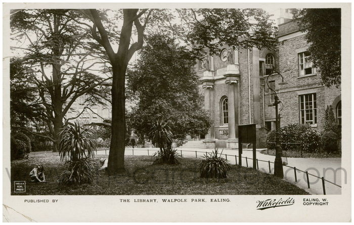 Postcard front: The Library, Walpole Park, Ealing.