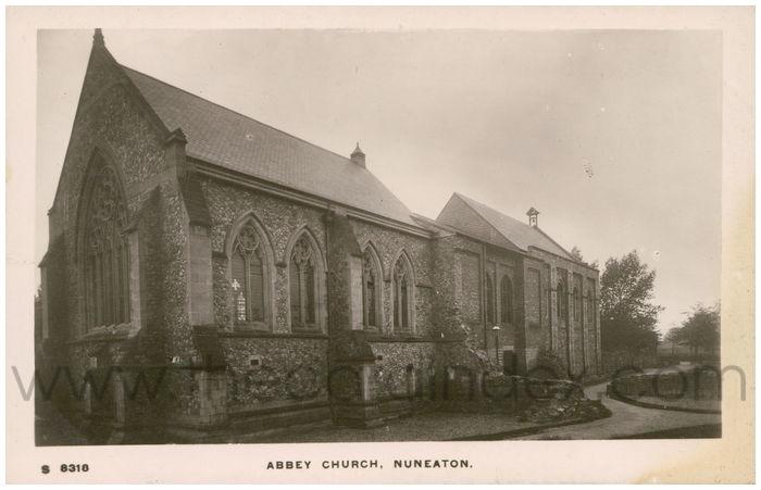 Postcard front: Abbey Church, Nuneaton