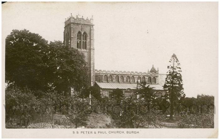 Postcard front: S.S. Peter & Paul Church, Burgh